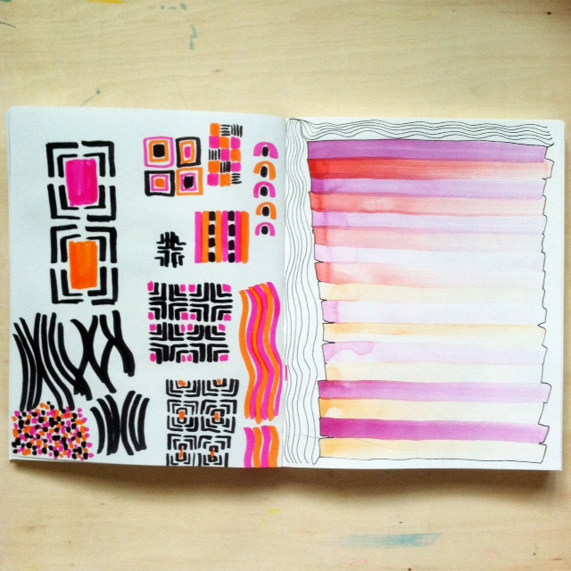 2x2, 2x2 Sketchbook, #2x2sketchbook, Anne Butera, Dana Barbieri, Patterns, Watercolor, Doodles