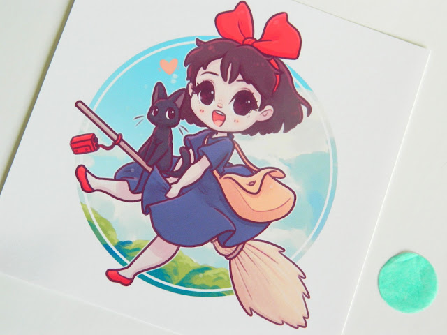 A photo of an art print of Kiki from Kiki's Delivery Service by Naomi Lord