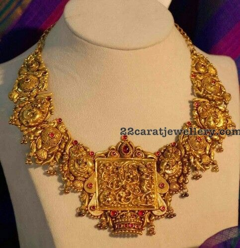 22carat Gold Trendy Peacock Necklace