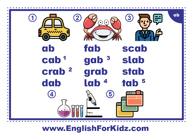 ab family words - printable flashcard with pictures