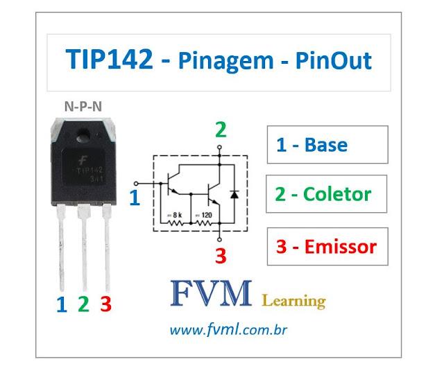 Pinagem - Pinout - Transistor Bipolar - NPN - TIP142 - Características