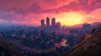 Grand Theft Auto V, City, Sunset, Scenery, 4K, #6.943