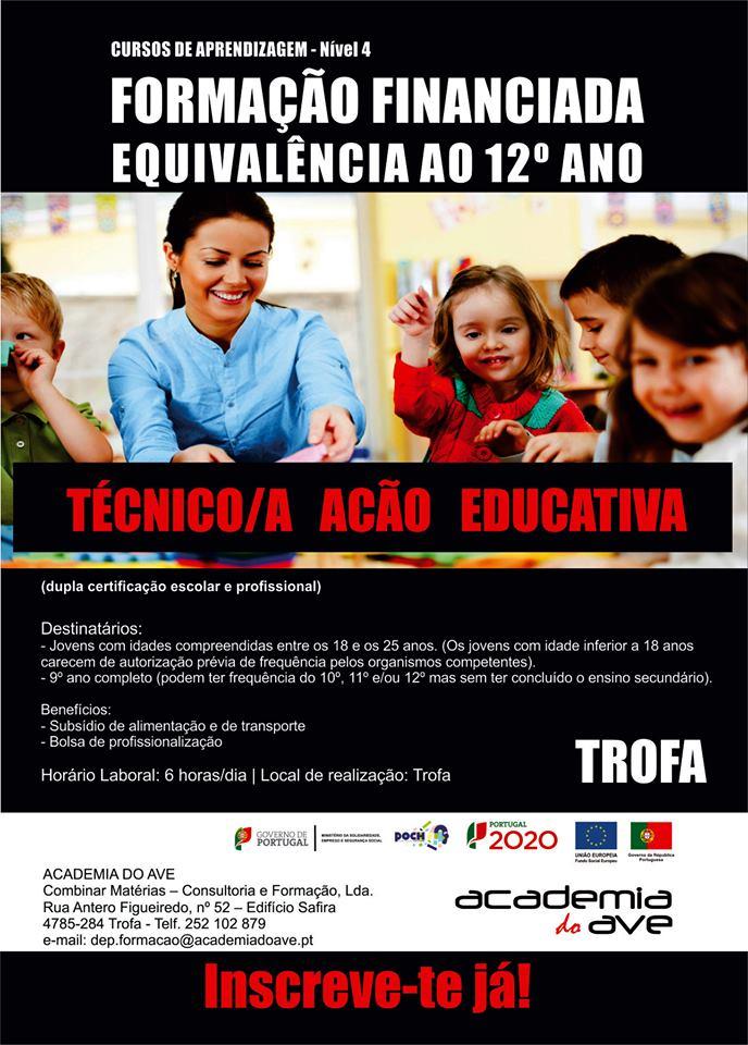 Curso de dupla certificação na Trofa (Técnico/a de Ação Educativa – Equivalência 12º ano)