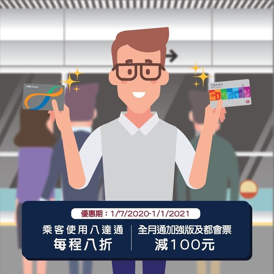 車票 Tickets : 港鐵車費 8折優惠 (2020.07.01~2021.01.01)