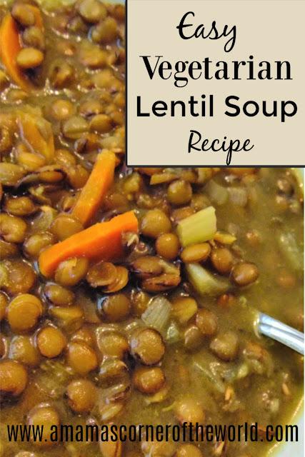pinnable image for easy vegetarian lentil soup recipe
