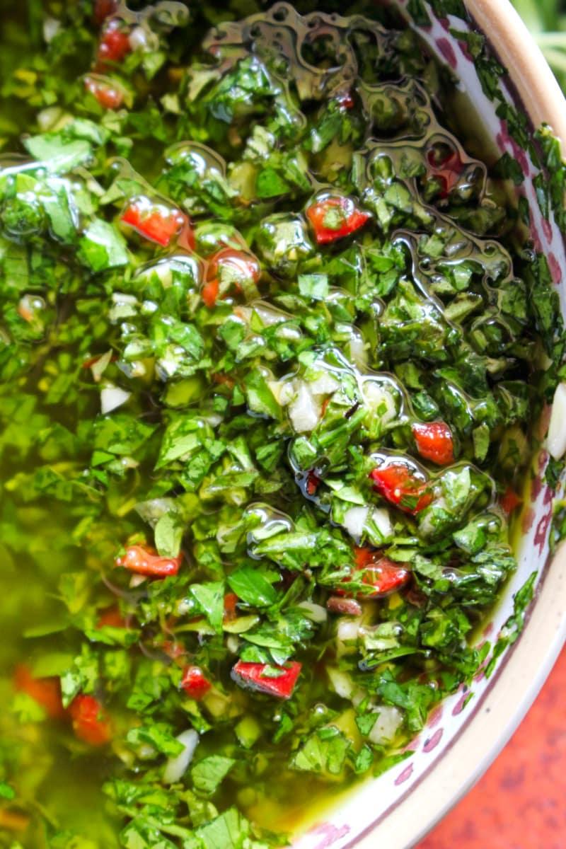 Top view closeup of Chimichurri Sauce.