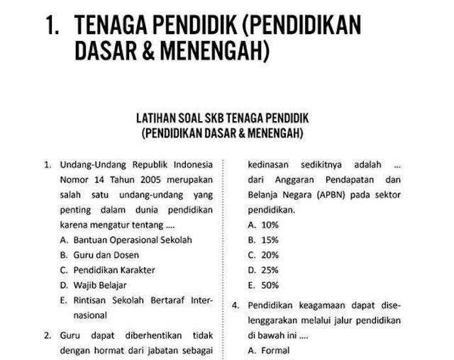 Materi Soal SKB Kependidikan CPNS 2020 (Seleksi Kompetensi Bidang)