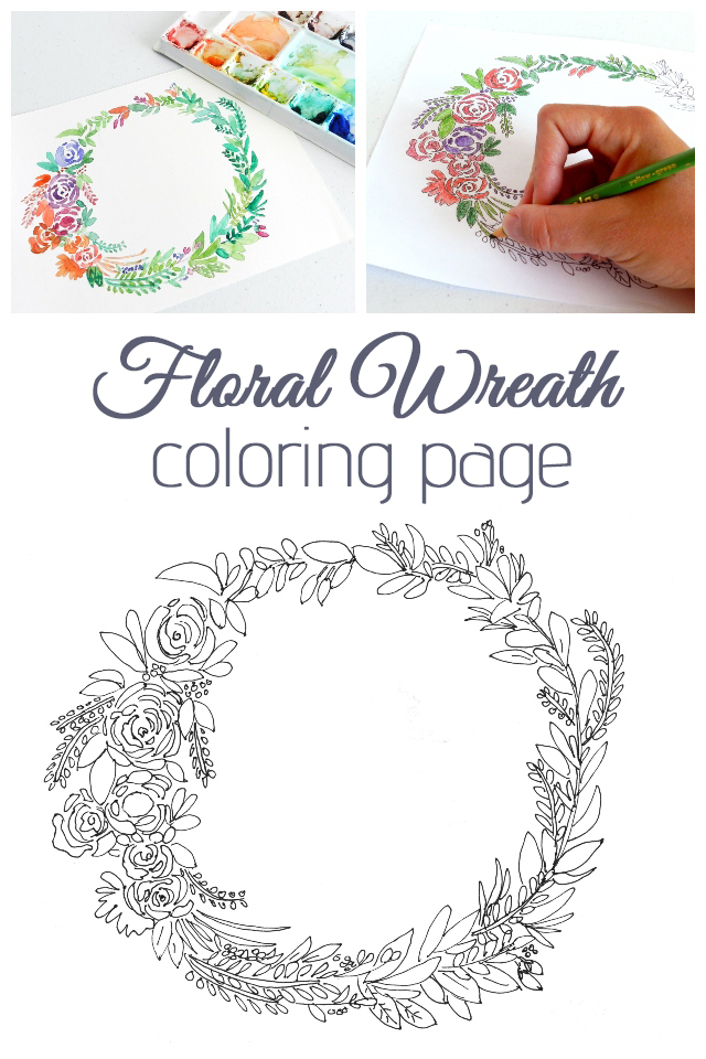 Free Floral Wreath Coloring Pages by Elise Engh Studios