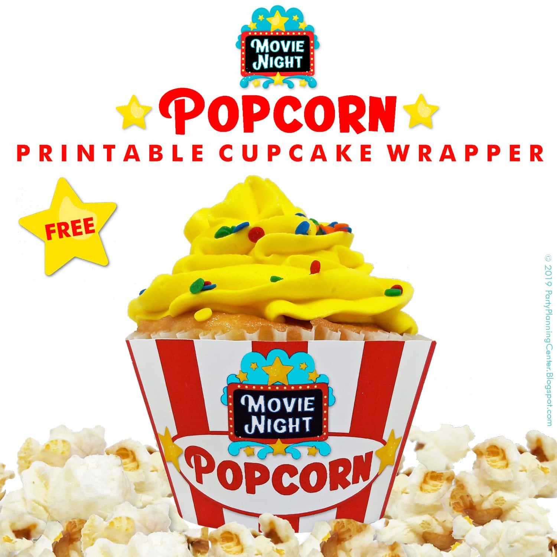 popcorn cupcake wrappers printable