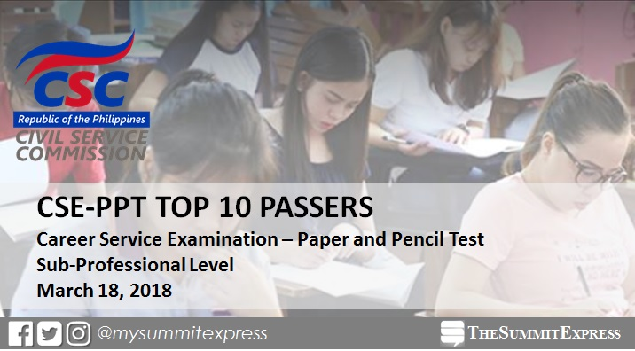TOP 10 PASSERS: March 2018 Civil Service Exam Sub-Professional CSE-PPT results