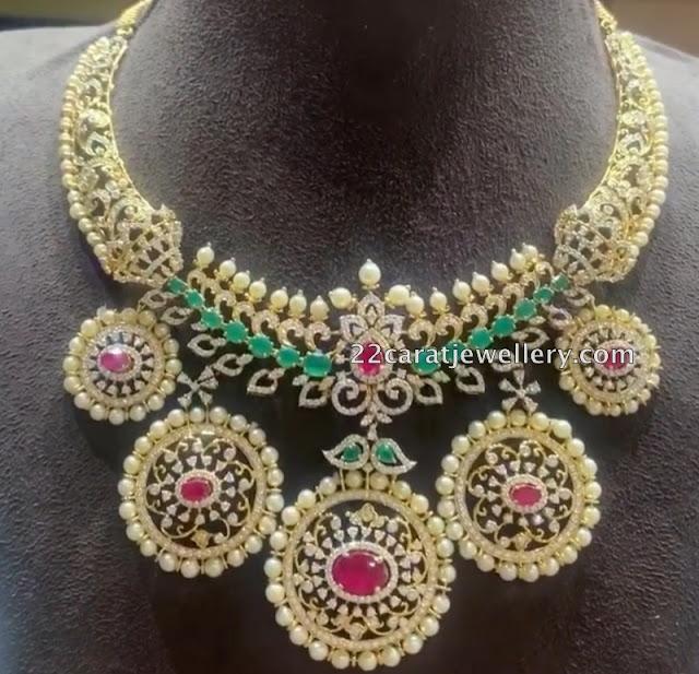Diamond Pearl Choker Kada and Jhumkas