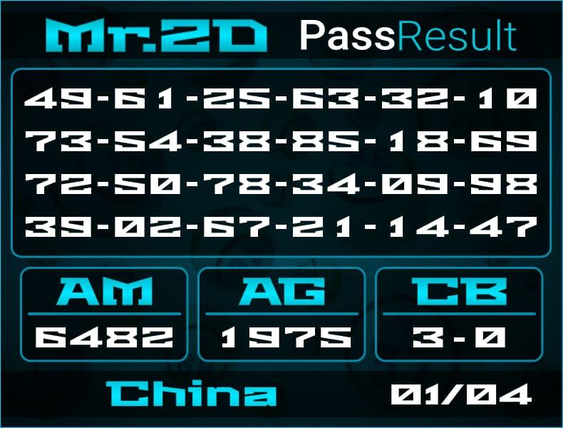 Prediksi Mr.2D   PassResult - Kamis, 1 April 2021 - Prediksi Togel China