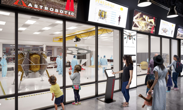A composite image showing the Moonshot Museum inside Astrobotic's headquarters in Pittsburgh, Pennsylvania.