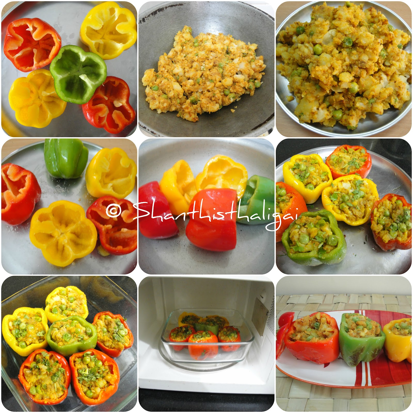 TRI-COLOUR STUFFED BELL PEPPERS, BHARWAN SHIMLA MIRCH,STUFFED SHIMLA MIRCH, HOW TO MAKE STUFFED BELL PEPPERS