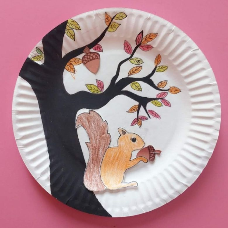 magnetic squirrel and acorn autumn craft for kids