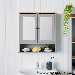 grey wooden bathroom wall cabinet