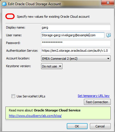 Oracle Cloud Storage Account Details