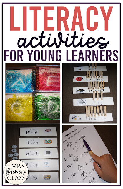 Literacy activities for Kindergarten with ideas for alphabet learning and sight word practice