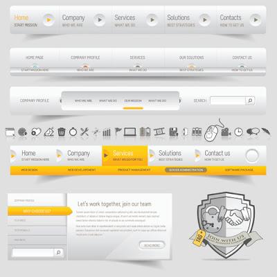 vector menú pagina web gris y amarillo