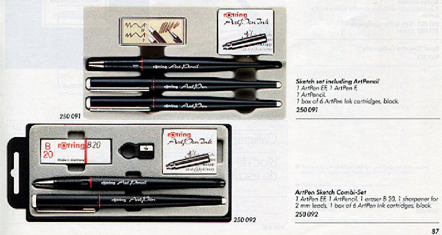 rotring artpen pencil fountainpen eraser set