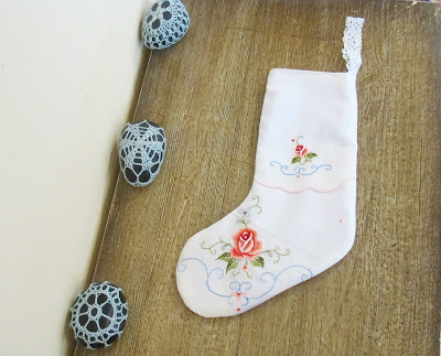 image shabby chic christmas stocking upcycled vintage doilies embroidered rustic domum vindemia