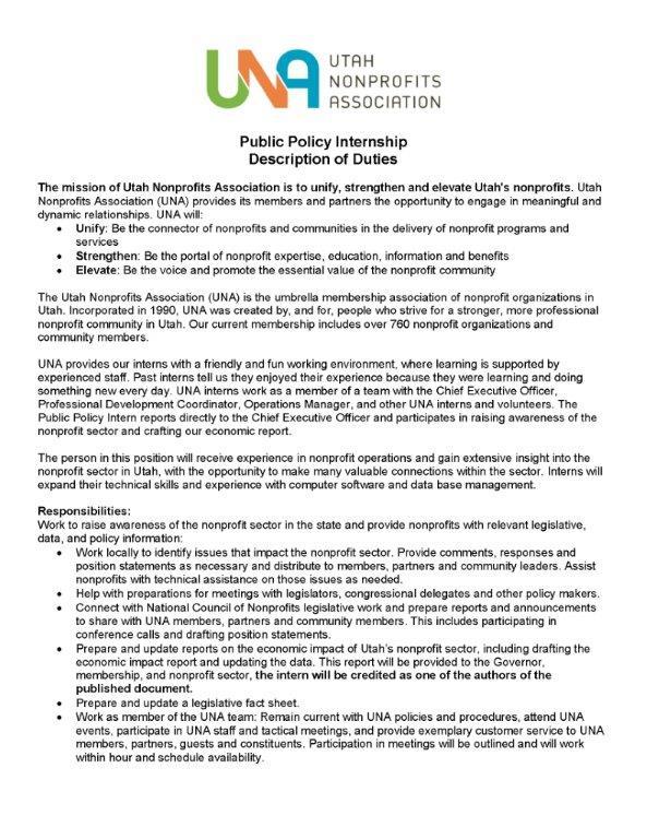 Public Policy Internship with Utah Nonprofits Association Thayne
