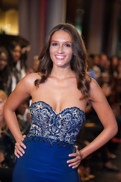 Sparkly Navy Blue Beaded Backless Evening Dress