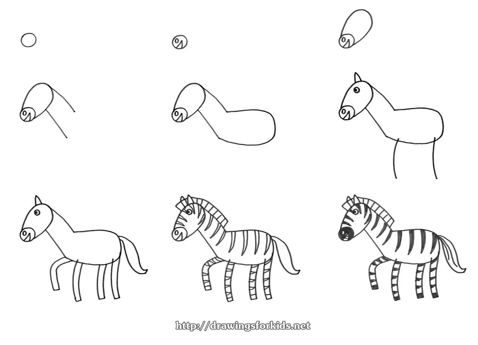 How to draw a Zebra for kids - drawingsforkids.net