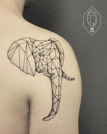 Formas geométricas são utilizadas para compor o retrato de um elefante.