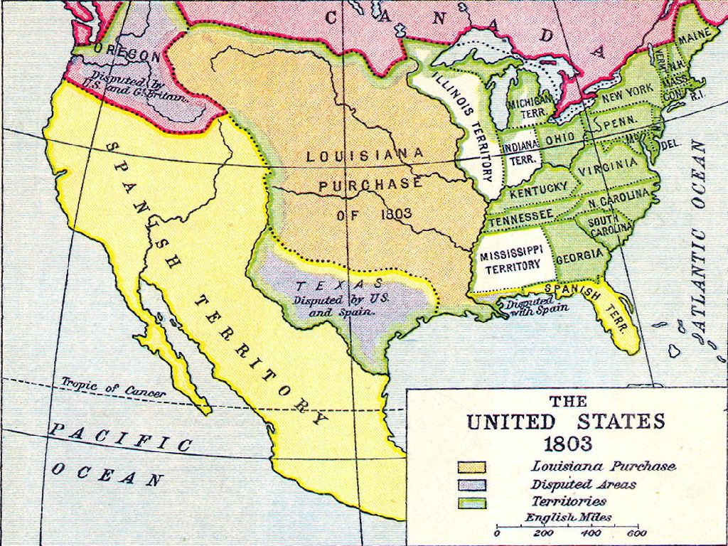 map of the united states in 1803
