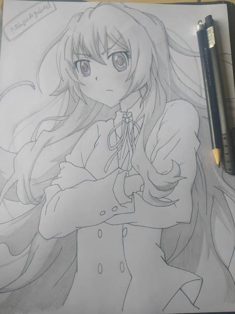 dibujo a lapiz de taiga aisaka de Toradora!