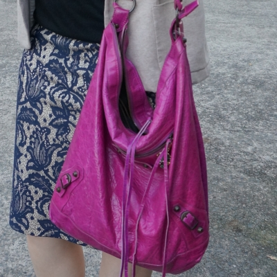 blue lace pencil skirt and magenta balenciaga 05 day bag | away from the blue