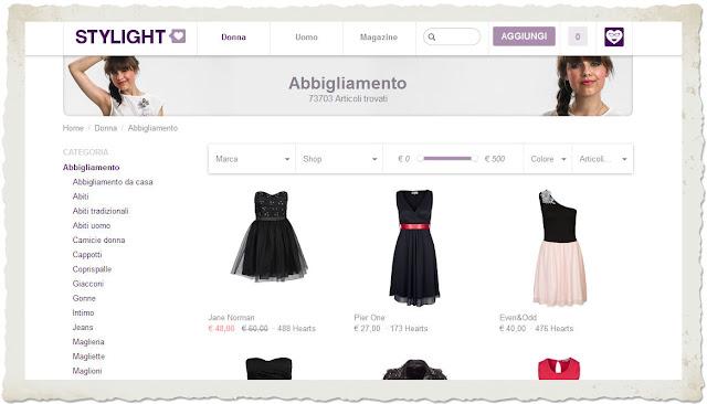 stylight sezione abbigliamento