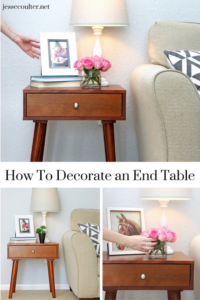 end table, end table decor, decorating and end table, table lamp, home decor blog, netural living room, round vase with roses, At Home, mid century modern end table, styling an end table, home decor blog