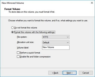 Format this volume with the following settings