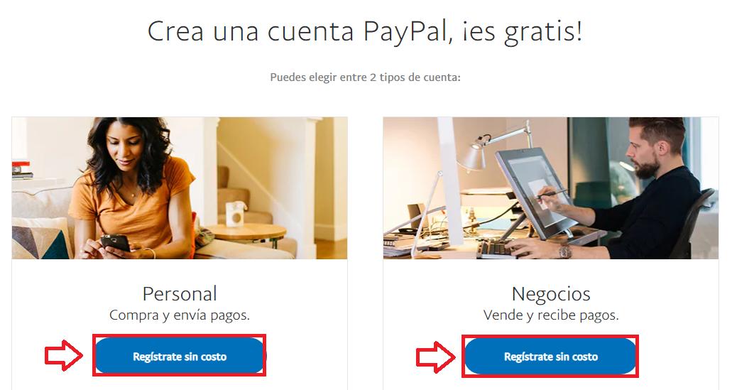 Elije entre una cuenta Paypal Personal o una de Negocios