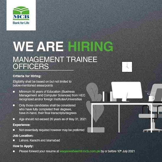 Management Trainee Officer Jobs June 2021