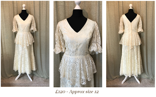Gatsby Art deco CREAM short sleeve lace vintage wedding dress available from vintage lane bridal boutique bolton manchester
