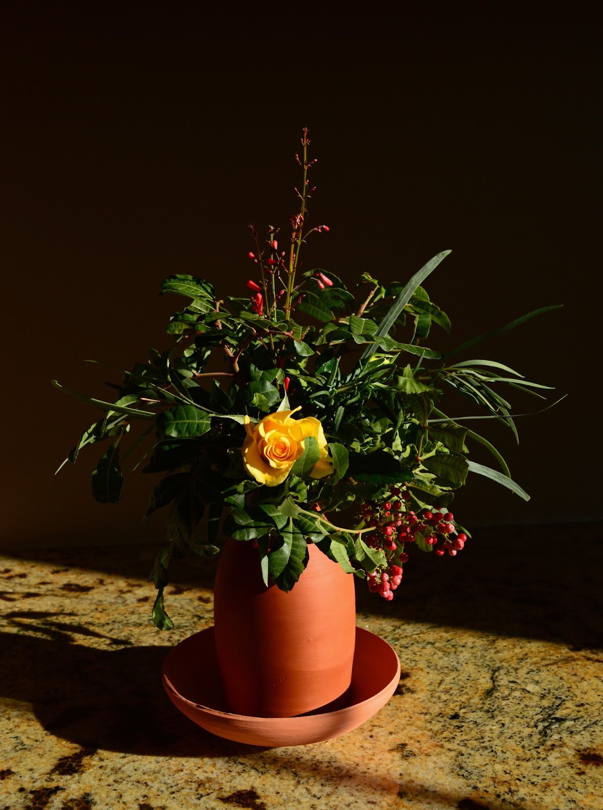 "Monday vase meme, schinus terebinthifolius berries, rose ""Sun Flare"""