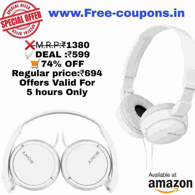 Amazon Offers - Sony MDR-ZX110A OnEar Stereo Headphones in Rs.599