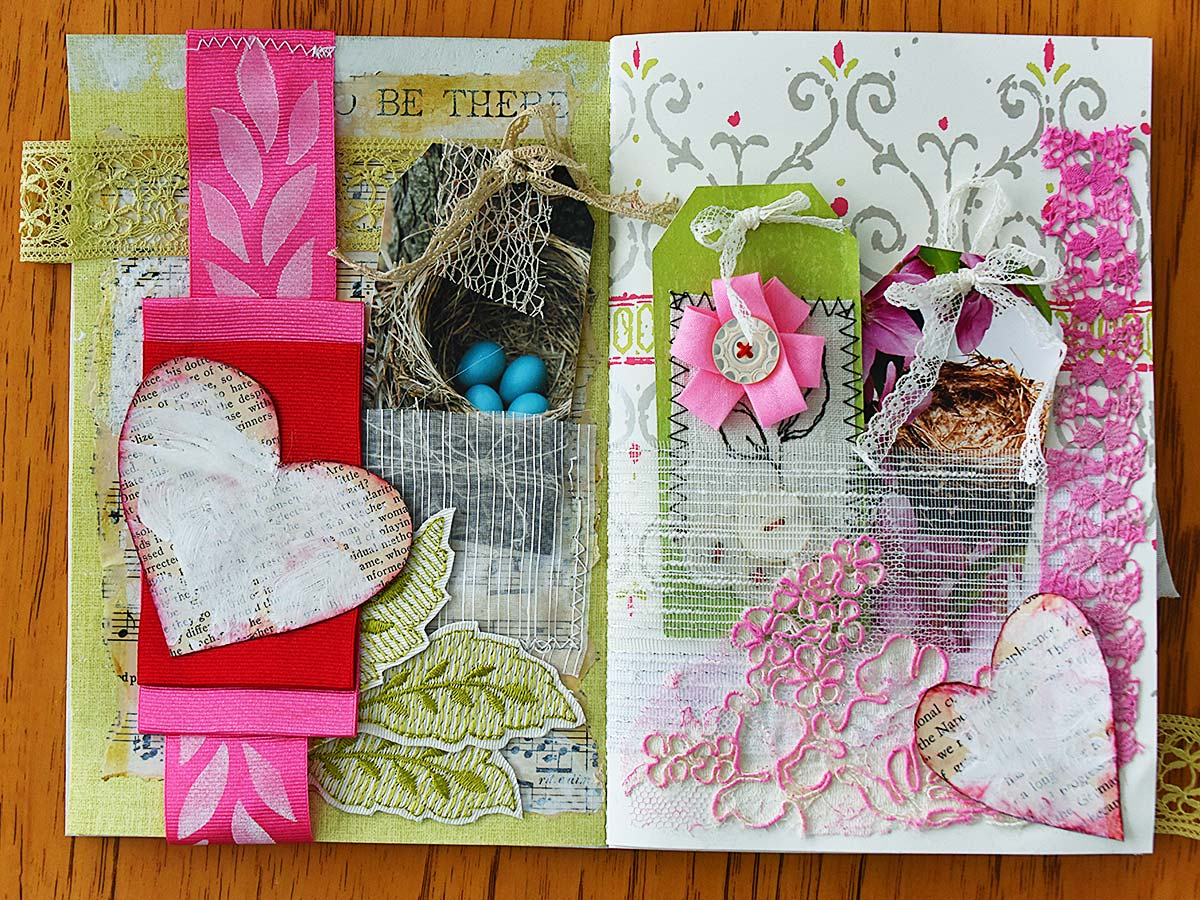 Spring mini album spread 1 with tags by Jeanne Selep
