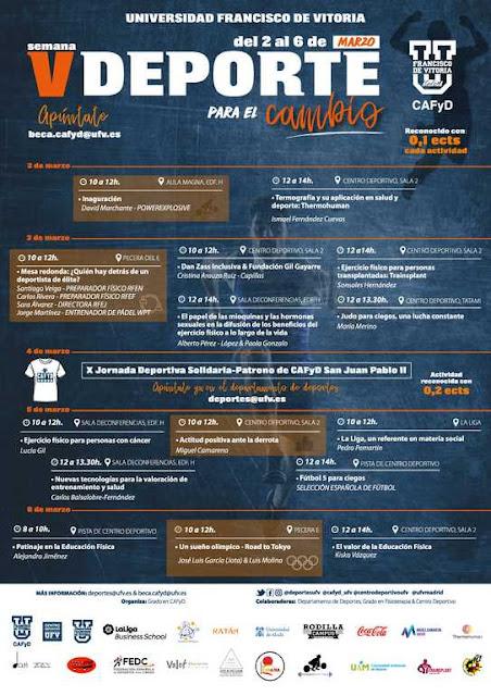 V Semana Deporte para el Cambio del 2 al 6 de Marzo organizada por CAFyD en la Universidad Francisco de Vitoria.