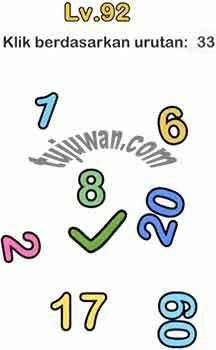 Jawaban Brain Out Klik Berdasarkan Urutan 33 1,6,8,20,17,60,33 di Level 92