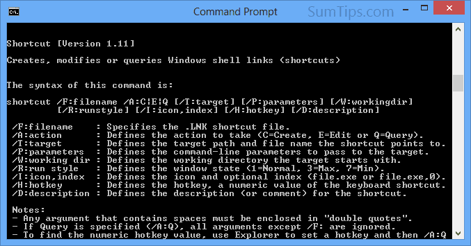 Create File or Folder Shortcuts from Command Line in Windows
