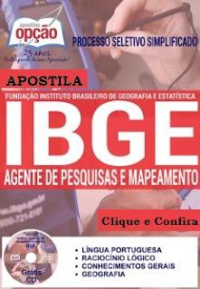 Apostila Concurso IBGE Impressa / Digital Agente de Pesquisas de Mapeamento 2016