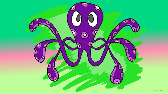 Groene wallpaper met paarse octopus.