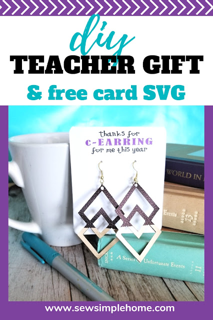 Create your own teacher appreciation gift with these fun earring cards cut on a cutting machine.