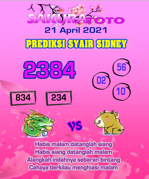 Syair Sakuratoto Sidney Rabu 21 April 2021