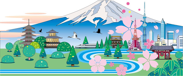 風景イラスト、和風風景、和風景、イラストレーター 、イラスト制作、フラット風景、インバウンド