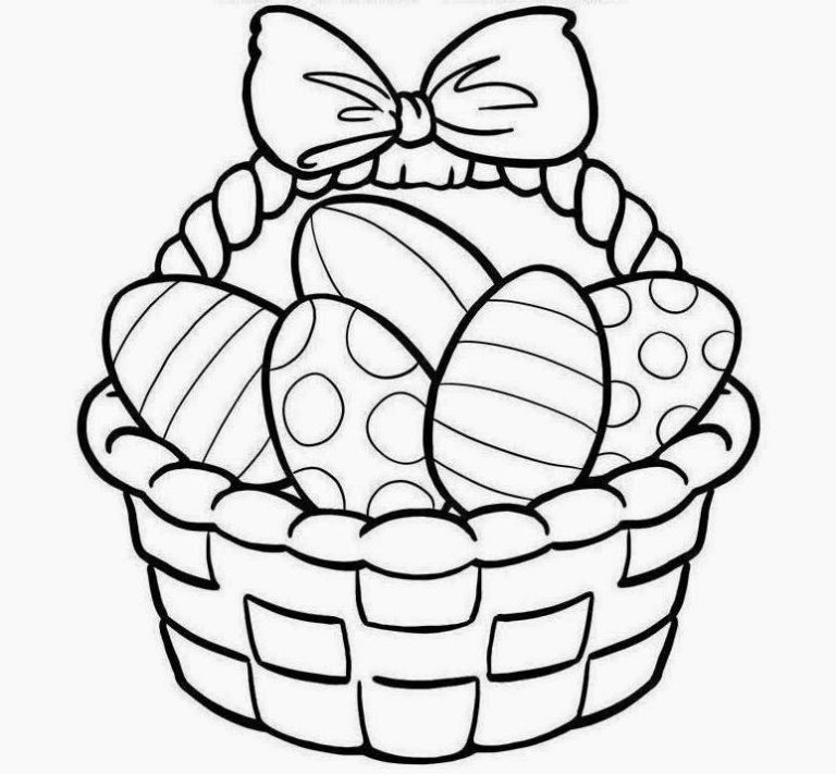 Printable Easter Baskets Coloring Pages Drawings Clip